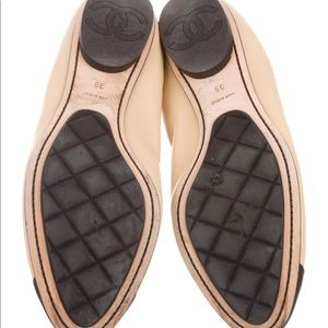 CHANEL Shoes - Chanel Tan Leather Cap Toe Ballet Flats